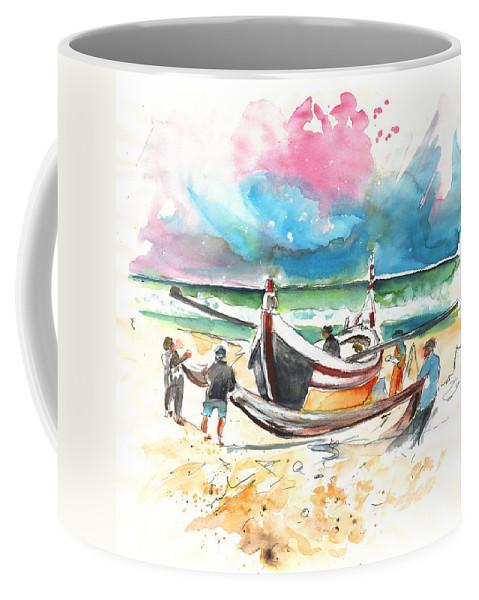Portugal Coffee Mug featuring the painting Fishermen In Praia De Mira 03 by Miki De Goodaboom