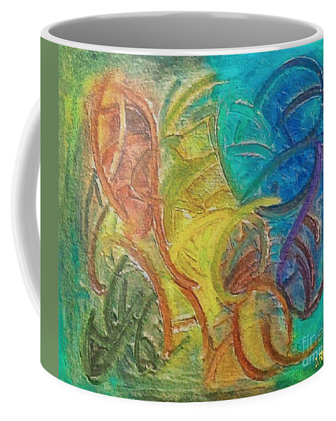 Mixed Media Coffee Mug featuring the mixed media Fishes by Dragica Micki Fortuna