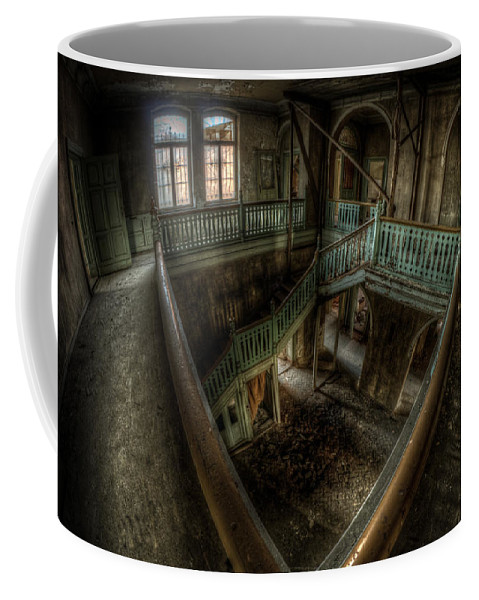 Beautiful Coffee Mug featuring the digital art Fisheye From Above by Nathan Wright