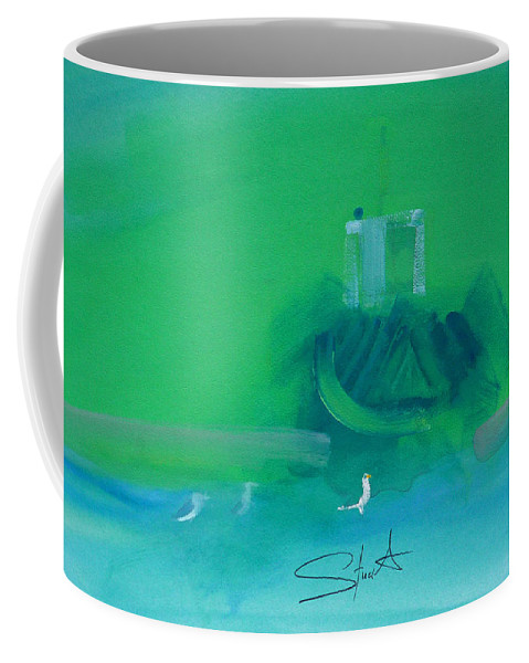 Fishing Boat Coffee Mug featuring the painting Fishing Boat With Seagulls by Charles Stuart