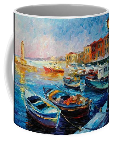 Afremov Coffee Mug featuring the painting Fishing Boats by Leonid Afremov