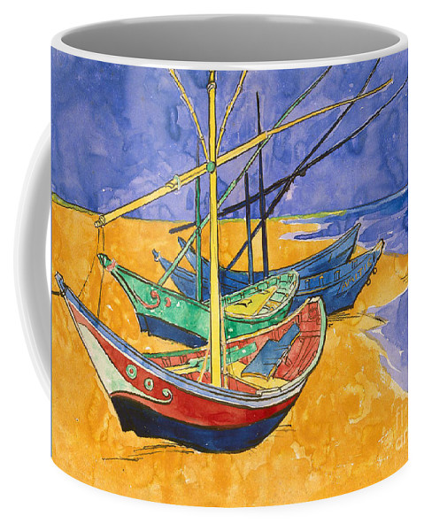 Vincent Van Gogh Coffee Mug featuring the painting Fishing Boats on the Beach at Saintes Maries de la Mer by Vincent Van Gogh