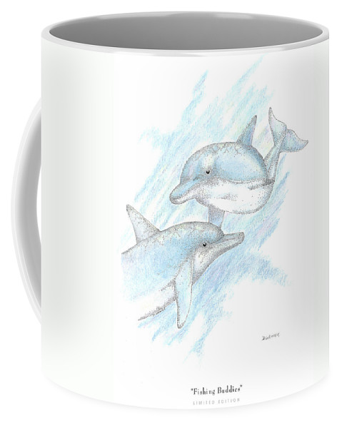 Dolphins Coffee Mug featuring the drawing Fishing Buddies by David Weaver