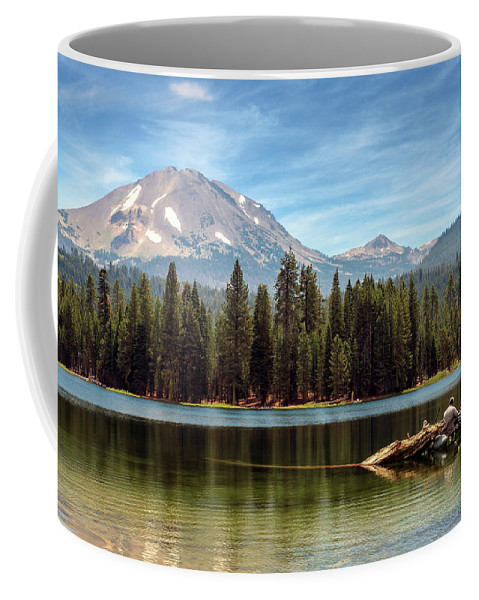 Mount Lassen Coffee Mug featuring the photograph Fishing By Mount Lassen by James Eddy