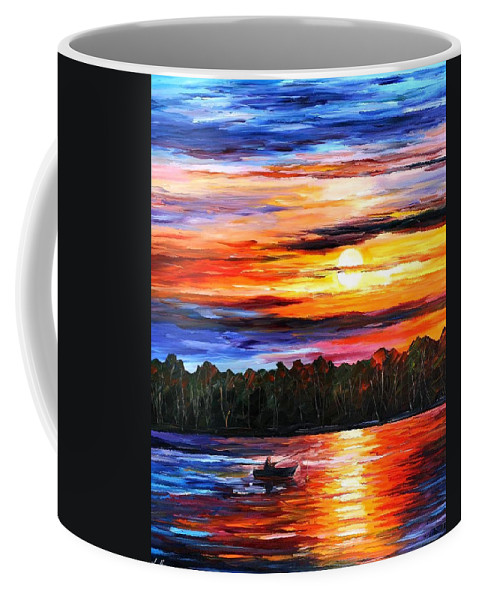 Afremov Coffee Mug featuring the painting Fishing By Sunset by Leonid Afremov