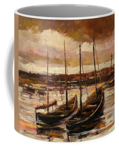 Fishing Cutters Coffee Mug featuring the painting Fishing Cutters by Luke Karcz