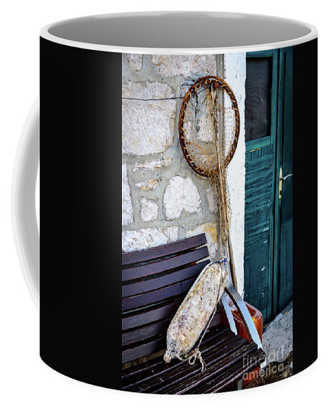 Primosten Coffee Mug featuring the photograph Fishing Gear In Primosten, Croatia by Global Light Photography - Nicole Leffer