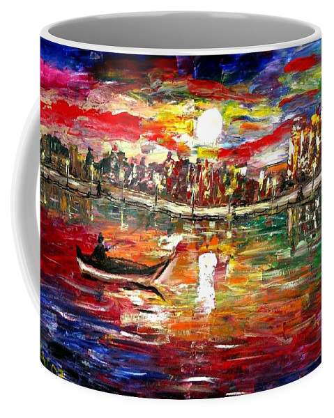 Art Coffee Mug featuring the painting Fishing In The Moonlight by Luiza Vizoli