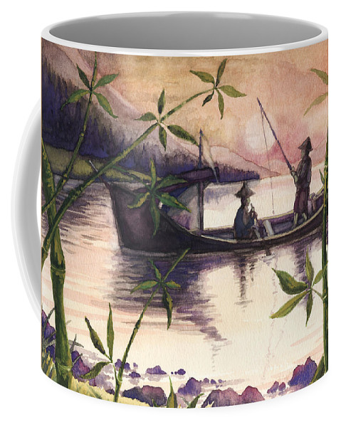 Fishing Coffee Mug featuring the painting Fishing In The Sunset  by Alban Dizdari
