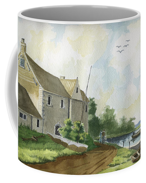 Lake Coffee Mug featuring the painting Fishing Lake by Alban Dizdari