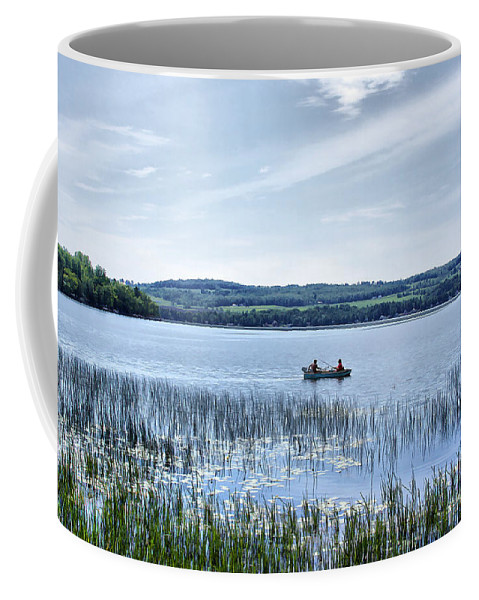 Lake Coffee Mug featuring the photograph Fishing On Lake Carmi by Deborah Benoit