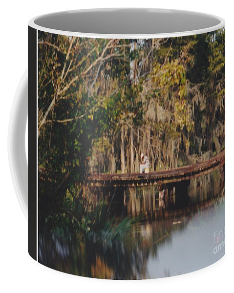 Landscape Coffee Mug featuring the photograph Fishing On The Bridge by Michelle Powell