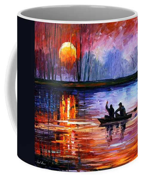 Seascape Coffee Mug featuring the painting Fishing On The Lake by Leonid Afremov