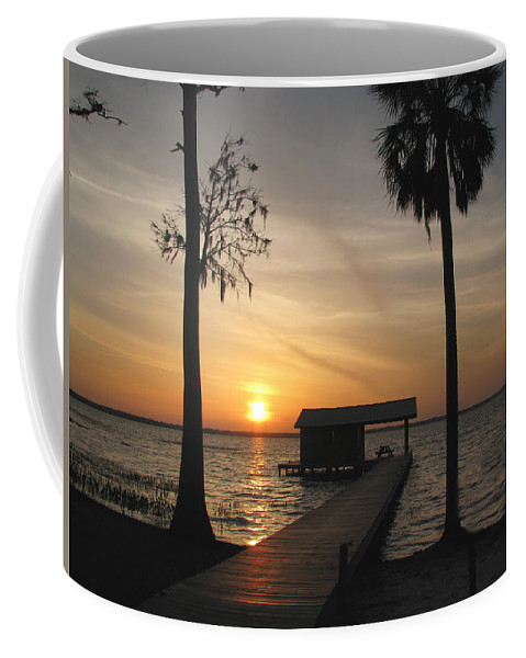 Landscape Coffee Mug featuring the photograph Fishing Pier At Dusk by Peg Urban
