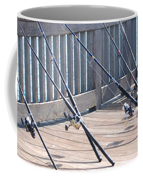 Pier Coffee Mug featuring the photograph Fishing Rods by Rob Hans