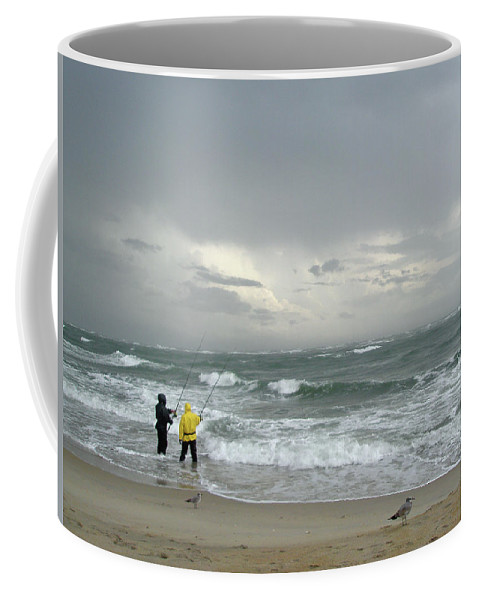 Fishing Coffee Mug featuring the photograph Fishing Through The Storm - Diamond Shoals Nc by Mother Nature