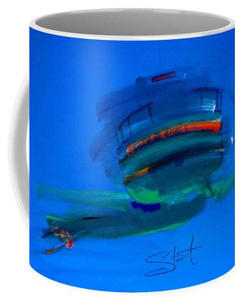 Hastings Coffee Mug featuring the painting Fishing Trawler Hastings Stade by Charles Stuart