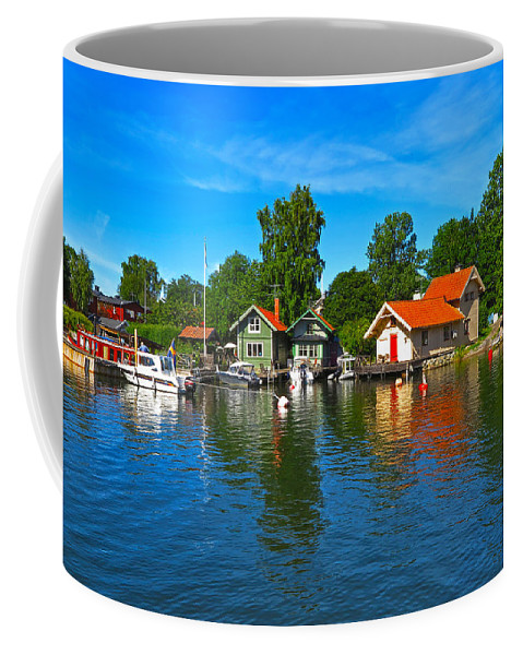 Vaxholm Coffee Mug featuring the photograph Fishing Village Of Vaxholm Sweden by Greg Matchick