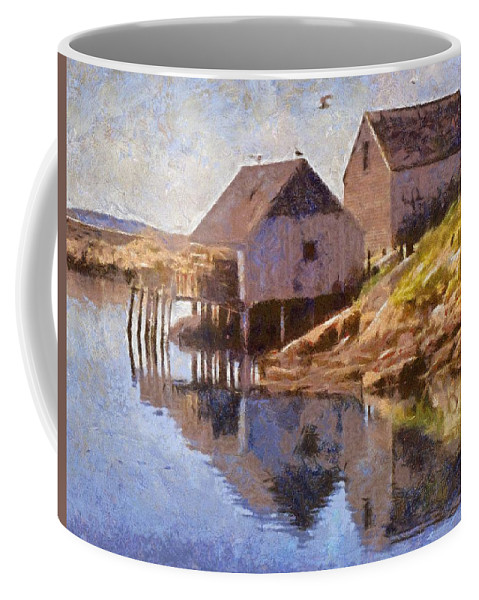 Canadian Coffee Mug featuring the painting Fishing Wharf by Jeffrey Kolker