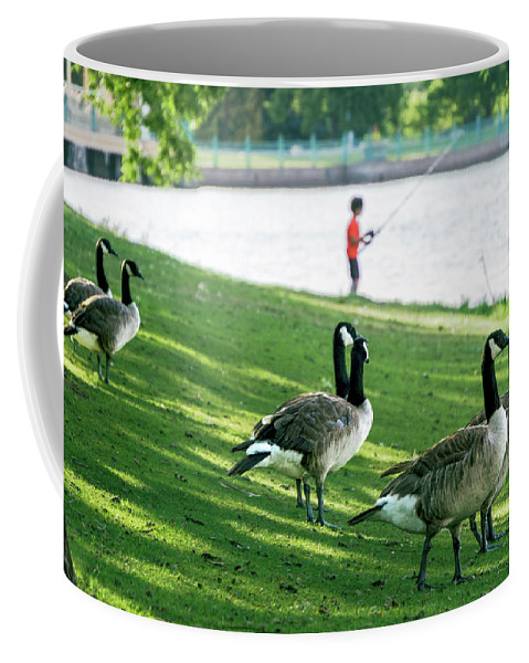 2017 Coffee Mug featuring the photograph Fishing With The Geese by Cary Leppert