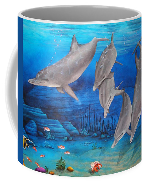 Dolphin Coffee Mug featuring the painting Five Friends by Cindy D Chinn
