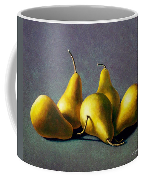 Still Life Coffee Mug featuring the painting Five Golden Pears by Frank Wilson