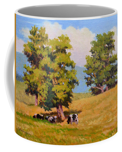 Landscape Coffee Mug featuring the painting Five Oaks by Keith Burgess