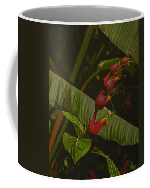 Floral Coffee Mug featuring the painting Five Red by Thu Nguyen