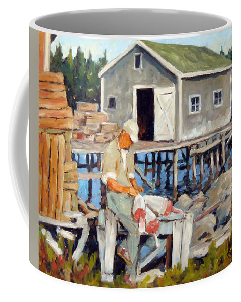 Fishing Boats Coffee Mug featuring the painting Fixing Floats by Richard T Pranke