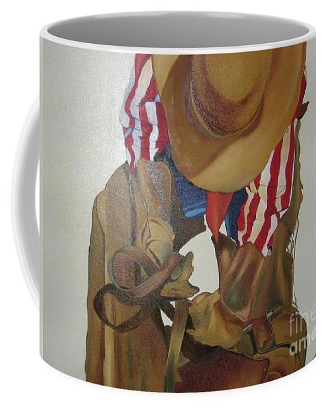 Cowboy Coffee Mug featuring the painting Fixing The Saddle by Alka Jha