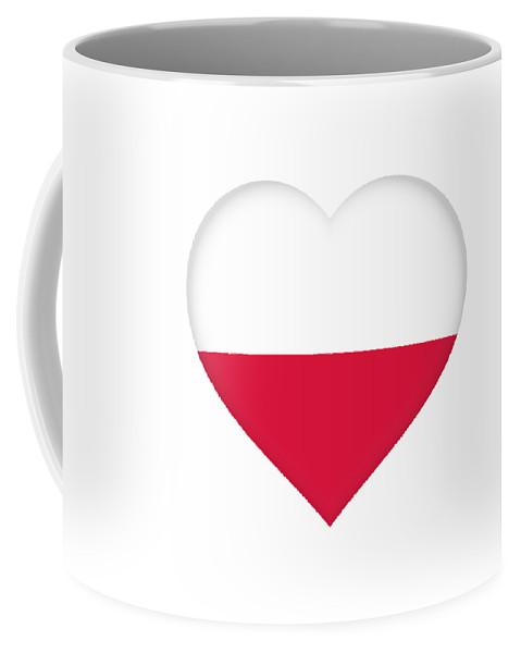 Poland Coffee Mug featuring the digital art Flag Of Poland Heart by Roy Pedersen