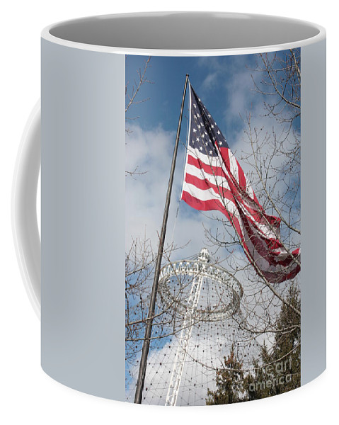 American Flag Coffee Mug featuring the photograph Flag Over Spokane Pavilion by Carol Groenen