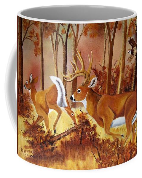 Deer Coffee Mug featuring the painting Flagging Deer by Debbie LaFrance