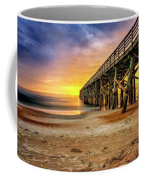 Hdr Coffee Mug featuring the photograph Flagler Beach Pier At Sunrise In Hdr by Michael White