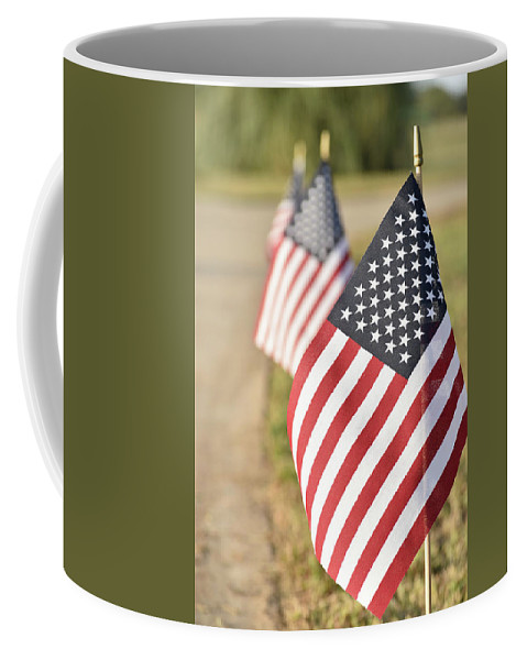 Coffee Mug featuring the photograph Flags Line Up by Josiane Smith
