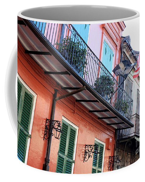 New Orleans Coffee Mug featuring the photograph Flags On The Balcony by Carol Groenen