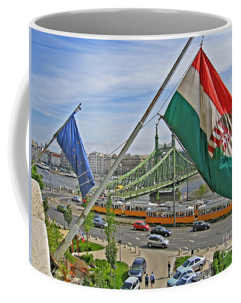 Hungary Coffee Mug featuring the photograph Flags Over Budapest by Ann Horn