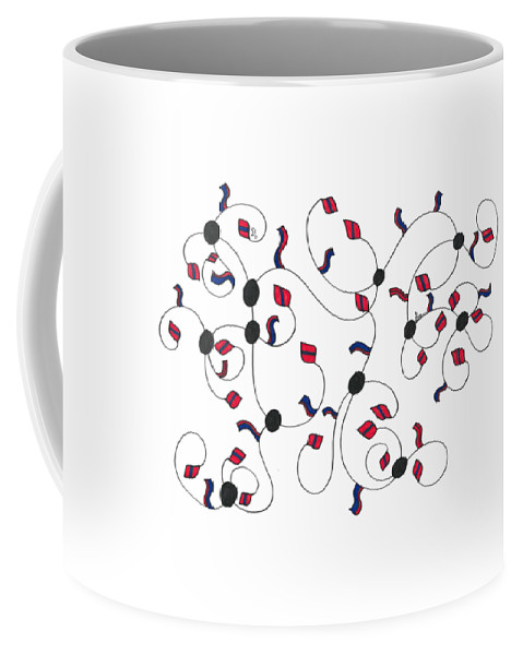 Flags Coffee Mug featuring the drawing Flags by Sally Bosenburg
