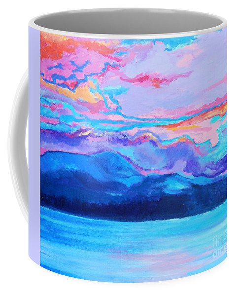 Dramatic Intense Brightly Colored Sunset Sky Coffee Mug featuring the painting Flagstaff Lake Winter Sunset by Expressionistart studio Priscilla Batzell