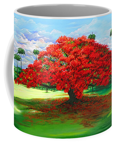 Flamboyant Tree Coffee Mug featuring the painting Flamboyant Ablaze by Karin Dawn Kelshall- Best