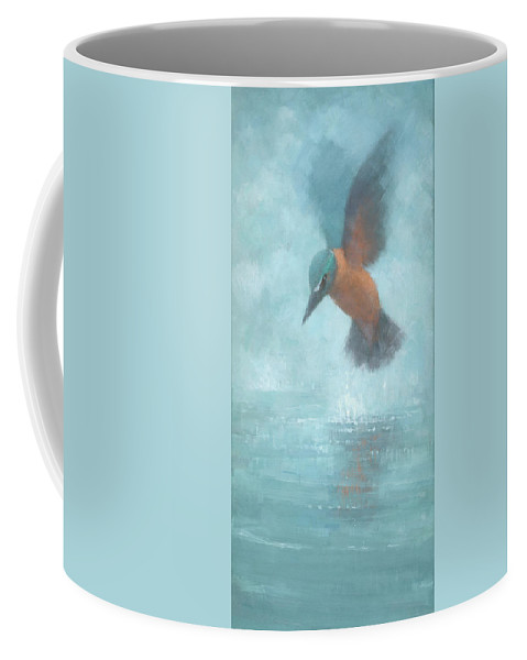 Blue Coffee Mug featuring the painting Flame In The Mist by Steve Mitchell