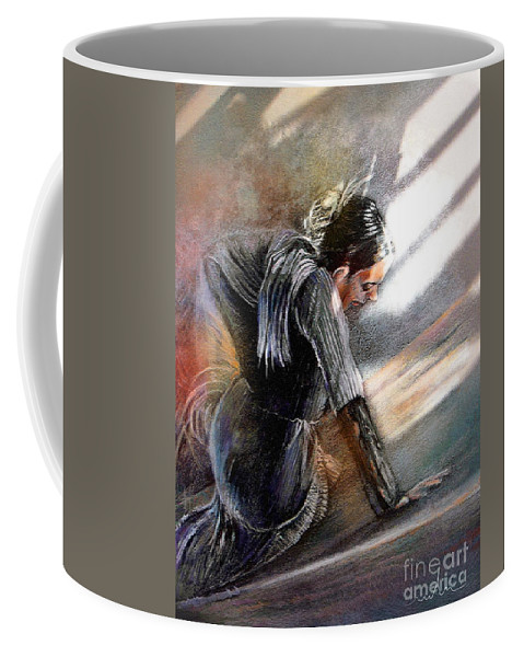 Spain Folklore Coffee Mug featuring the painting Flamenco Dancer On The Ground by Miki De Goodaboom