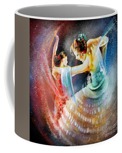 Flamenco Coffee Mug featuring the painting Flamencoscape 06 by Miki De Goodaboom