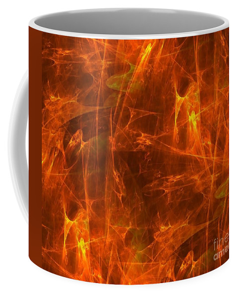 Abstract Coffee Mug featuring the digital art Flaming Background by Yali Shi