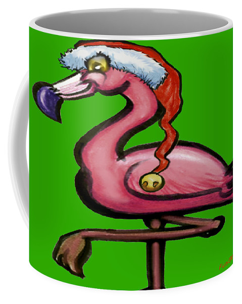 Flamingo Coffee Mug featuring the greeting card Flamingo Christmas by Kevin Middleton