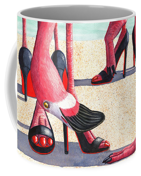 Flamingo Coffee Mug featuring the painting Flamingo Heels by Catherine G McElroy