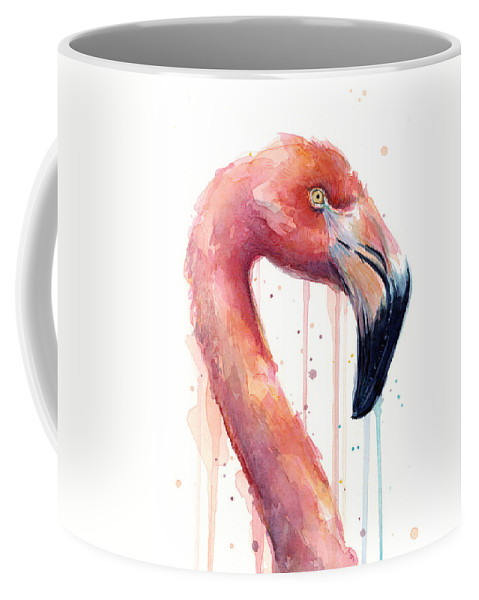 Watercolor Flamingo Coffee Mug featuring the painting Flamingo Painting Watercolor - Facing Right by Olga Shvartsur