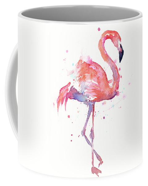 Flamingo Coffee Mug featuring the painting Flamingo Watercolor Facing Right by Olga Shvartsur