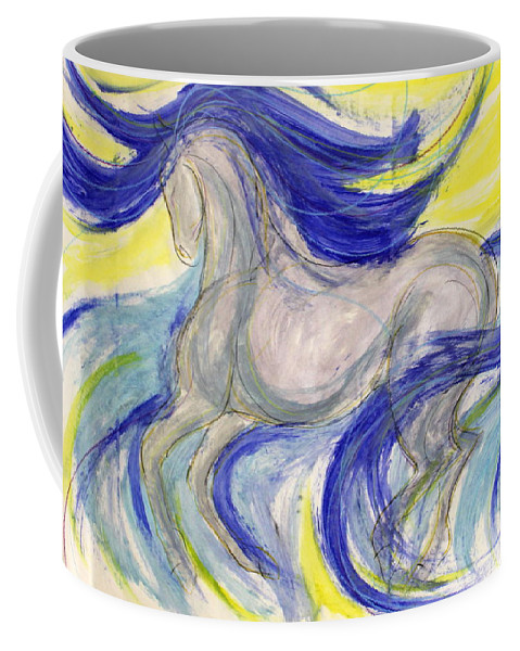 Dressage Dancing Horse Abstract Mixed Media Pirouette Equine Expression Extension Freedom Grand Prix Music Racing Racehorse Impulsion Lipizzaner Musical Freestyle Lightness Majestic Passage Piaffee Pura Raza Espanola Quarterhorse Thoroughbred Arabian Andalusian Balance Cadence Canter Dutch Warmblood Show Jumping Spanish Sporthorse Strength Submission Trakehner Transitions Westphalian Colorful Animal Whimsical Tempi Changes Gypsy Vanner Stallion Elasticity Eventing Equitation Equestrian Half-pass Coffee Mug featuring the mixed media Flash Dance by Jennifer Fosgate