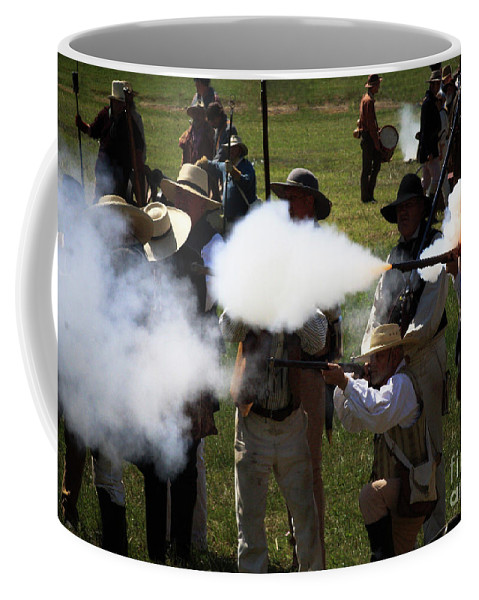 Re-enactment Coffee Mug featuring the photograph Flash Fire by Kim Henderson